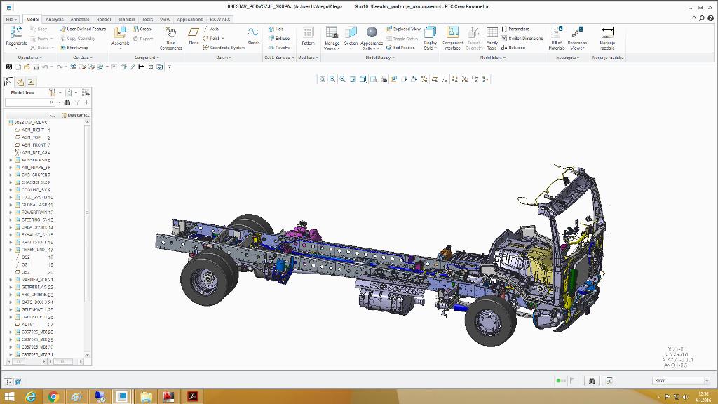 3D model podvozja na katerega se začne konstruirati nadgradnja.
