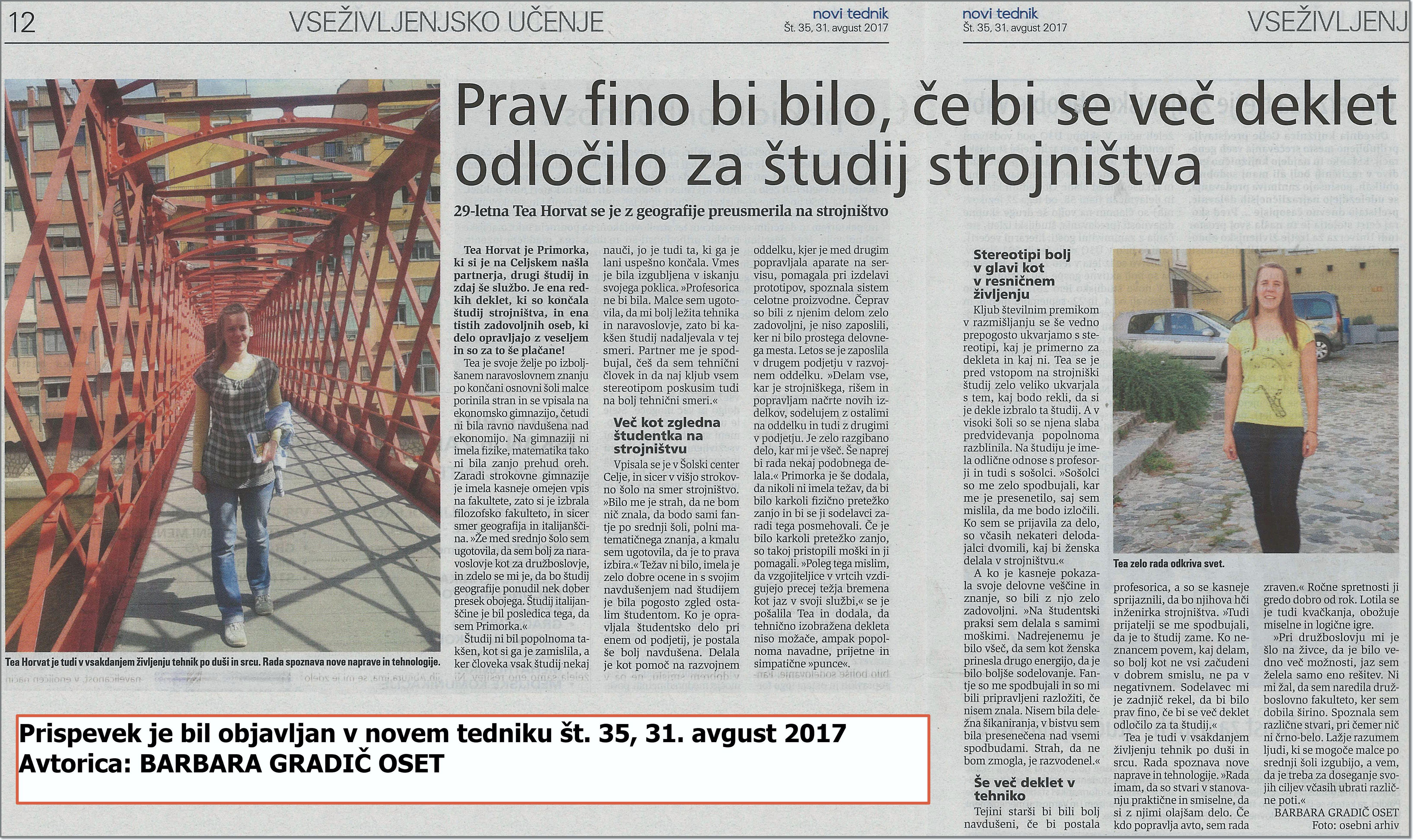 Novi tednik - intervju s Teo Horvat - 31.8.2017