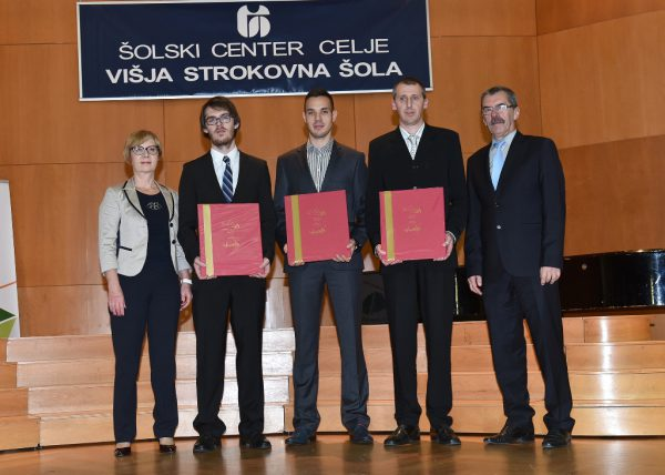 Najboljši diplomanti 2016. ( z leve: Bojan Lamut,Vedran Danojević in Matjaž Koradej)